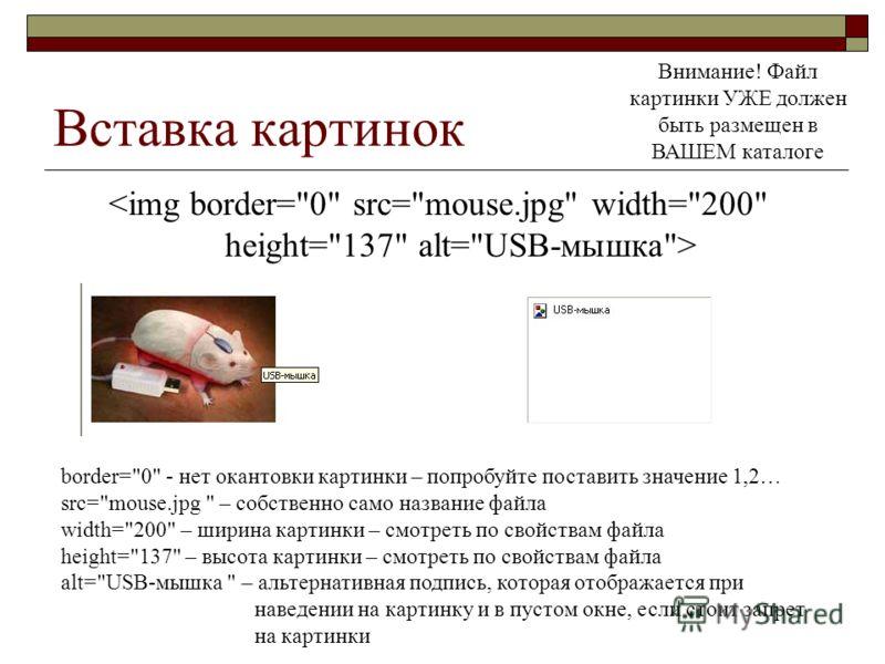 Вставка картинок Внимание! Файл картинки УЖЕ должен быть размещен в ВАШЕМ каталоге border=