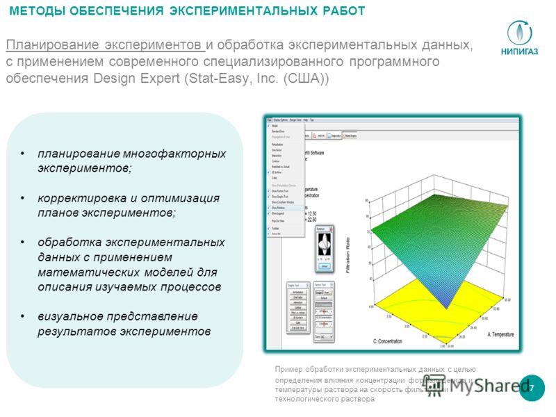 7 Планирование экспериментов и обработка экспериментальных данных, с применением современного специализированного программного обеспечения Design Expert (Stat-Easy, Inc. (США)) МЕТОДЫ ОБЕСПЕЧЕНИЯ ЭКСПЕРИМЕНТАЛЬНЫХ РАБОТ Пример обработки экспериментал