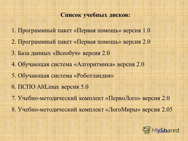 Список учебных дисков: 1. Программный пакет «Первая помощь» версия 1.0 2. Программный пакет «Первая помощь» версия 2.0 3. База данных «Всеобуч» версия 2.0 4. Обучающая система «Алгоритмика» версия 2.0 5. Обучающая система «Роботландия» 6. ПСПО AltLin