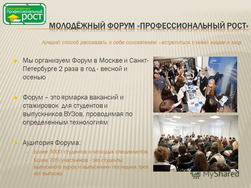 Мы организуем Форум в Москве и Санкт- Петербурге 2 раза в год - весной и осенью Форум – это ярмарка вакансий и стажировок для студентов и выпускников ВУЗов, проводимая по определенным технологиям Аудитория Форума: Более 3000 студентов и молодых специ
