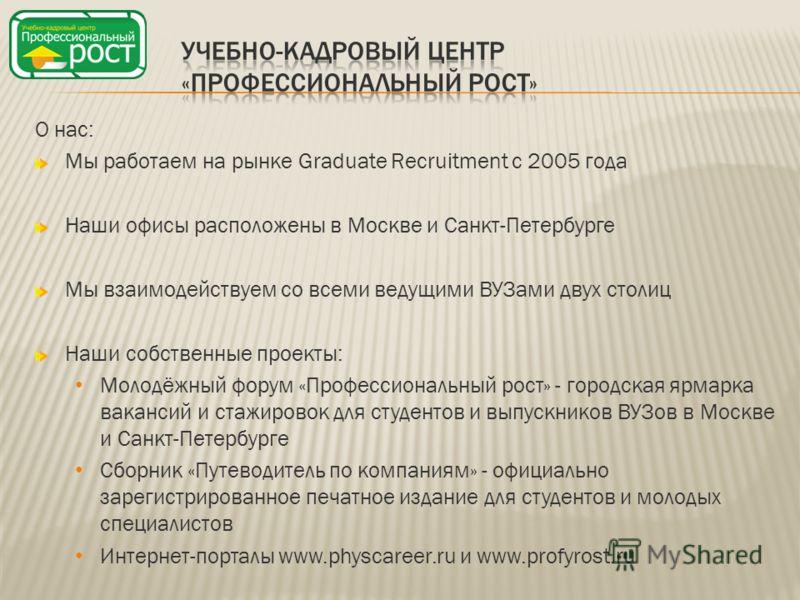 О нас: Мы работаем на рынке Graduate Recruitment с 2005 года Наши офисы расположены в Москве и Санкт-Петербурге Мы взаимодействуем со всеми ведущими ВУЗами двух столиц Наши собственные проекты: Молодёжный форум «Профессиональный рост» - городская ярм
