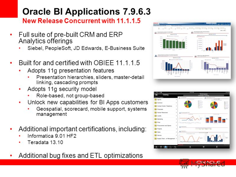 Oracle BI Applications 7.9.6.3 New Release Concurrent with 11.1.1.5 Full suite of pre-built CRM and ERP Analytics offerings Siebel, PeopleSoft, JD Edwards, E-Business Suite Built for and certified with OBIEE 11.1.1.5 Adopts 11g presentation features