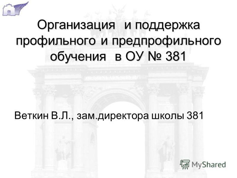 Организация и поддержка профильного и предпрофильного обучения в ОУ 381 Веткин В.Л., зам.директора школы 381