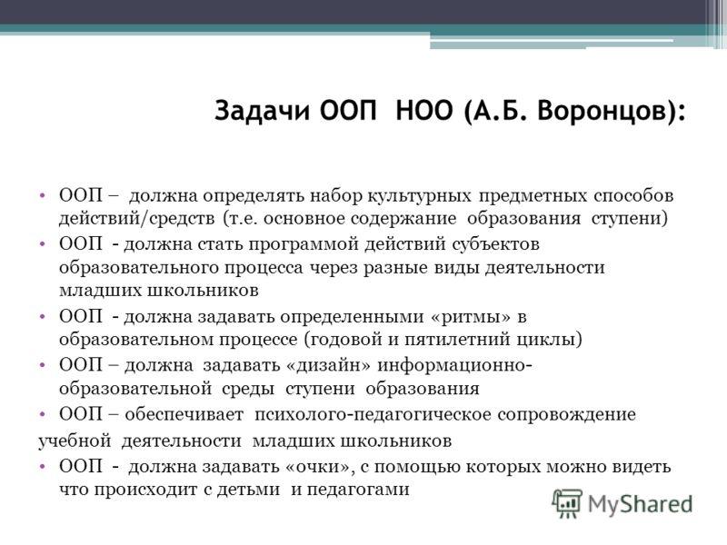 Задачи ООП НОО (А.Б. Воронцов): ООП – должна определять набор культурных предметных способов действий/средств (т.е. основное содержание образования ступени) ООП - должна стать программой действий субъектов образовательного процесса через разные виды