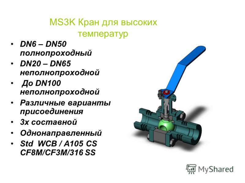MS3K & MS10K Шаровые краны Высокая температура Сложные условия эксплуатации Интенсивная эксплуатация By David Behm