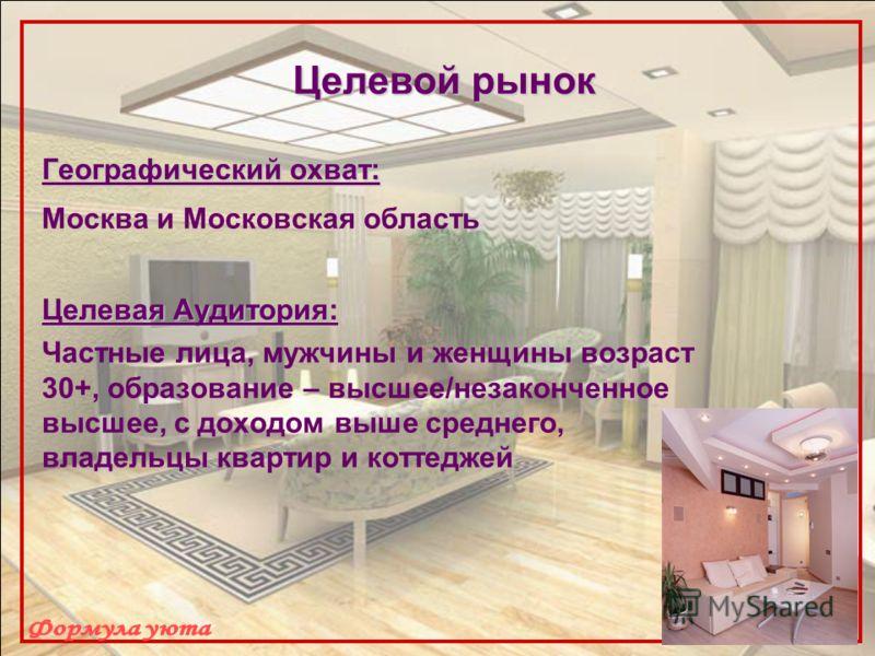 Целевой рынок Географический охват: Москва и Московская область Целевая Аудитория: Частные лица, мужчины и женщины возраст 30+, образование – высшее/незаконченное высшее, с доходом выше среднего, владельцы квартир и коттеджей