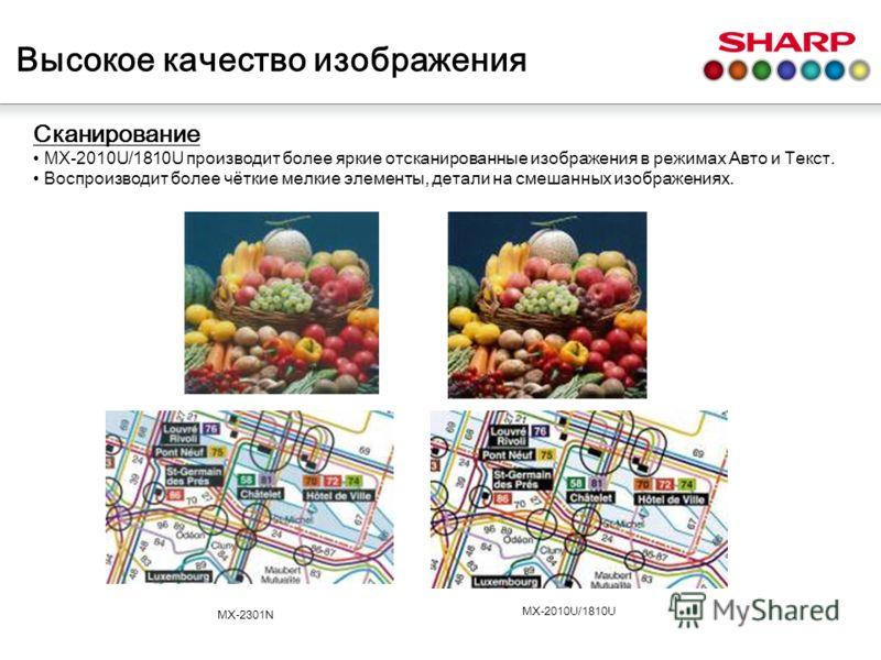 Сканирование MX-2010U/1810U производит более яркие отсканированные изображения в режимах Авто и Текст. Воспроизводит более чёткие мелкие элементы, детали на смешанных изображениях. MX-2301N MX-2010U/1810U Высокое качество изображения