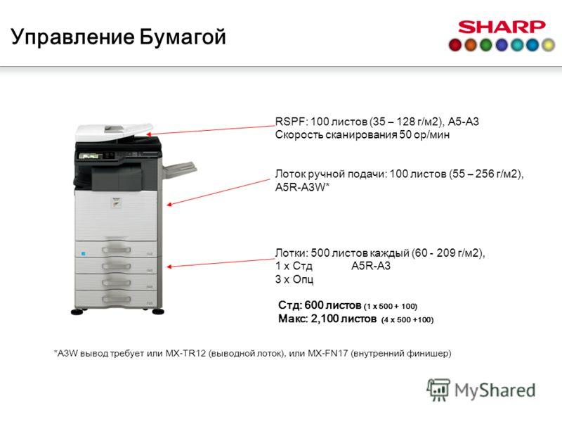 RSPF: 100 листов (35 – 128 г/м2), A5-A3 Скорость сканирования 50 ор/мин Лоток ручной подачи: 100 листов (55 – 256 г/м2), A5R-A3W* Лотки: 500 листов каждый (60 - 209 г/м2), 1 x Стд A5R-A3 3 x Опц Стд: 600 листов (1 x 500 + 100) Макс: 2,100 листов (4 x