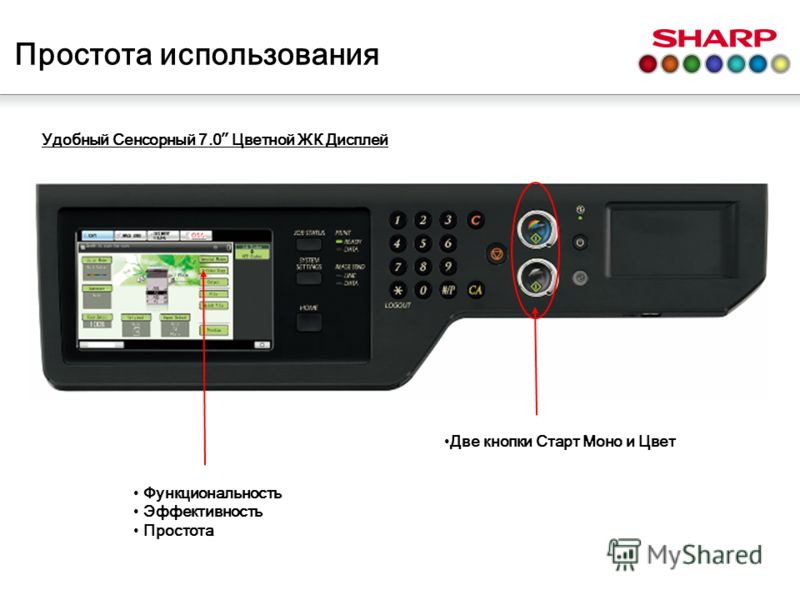 Простота использования Удобный Сенсорный 7.0 Цветной ЖК Дисплей Функциональность Эффективность Простота Две кнопки Старт Моно и Цвет