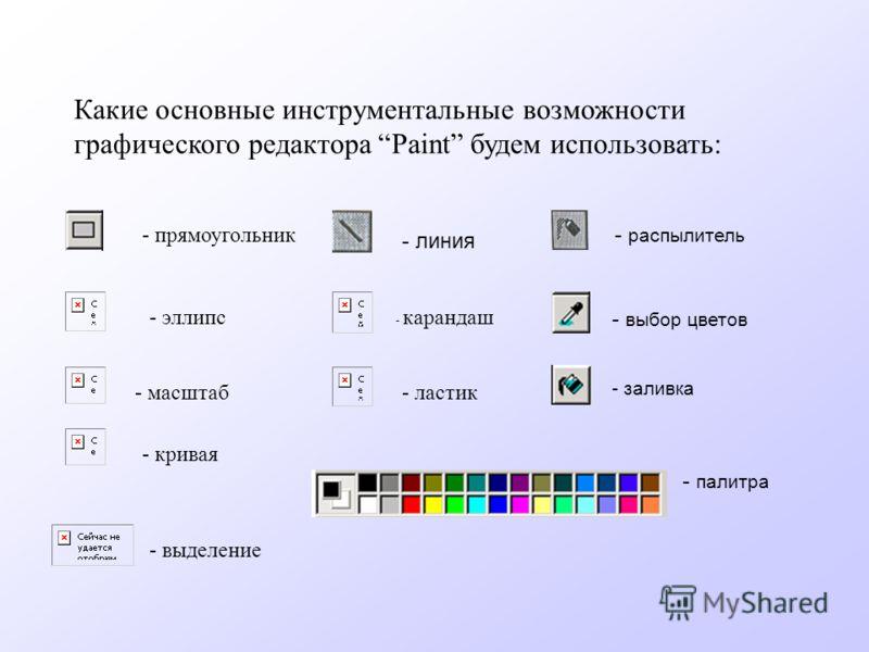 - прямоугольник Какие основные инструментальные возможности графического редактора Paint будем использовать: - карандаш - кривая - эллипс - ластик- масштаб - выделение - линия - распылитель - палитра - выбор цветов - заливка