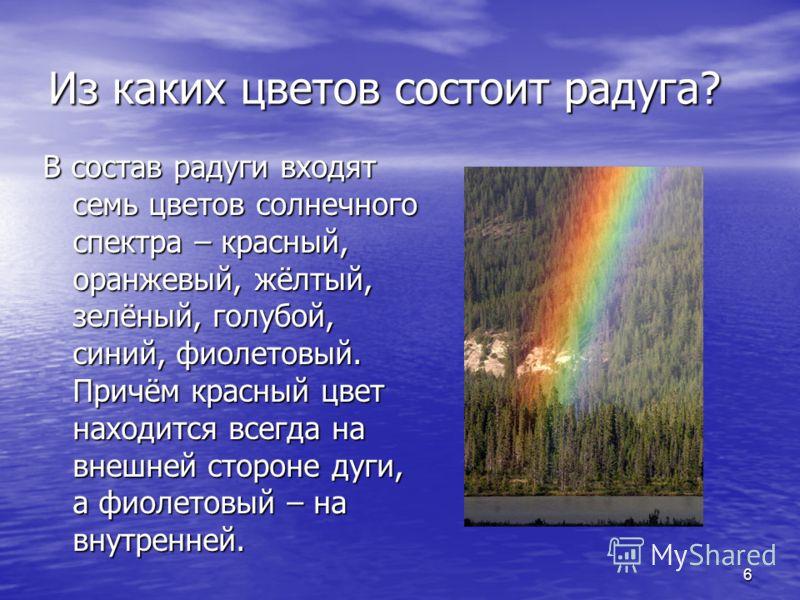 6 Из каких цветов состоит радуга? В состав радуги входят семь цветов солнечного спектра – красный, оранжевый, жёлтый, зелёный, голубой, синий, фиолетовый. Причём красный цвет находится всегда на внешней стороне дуги, а фиолетовый – на внутренней.