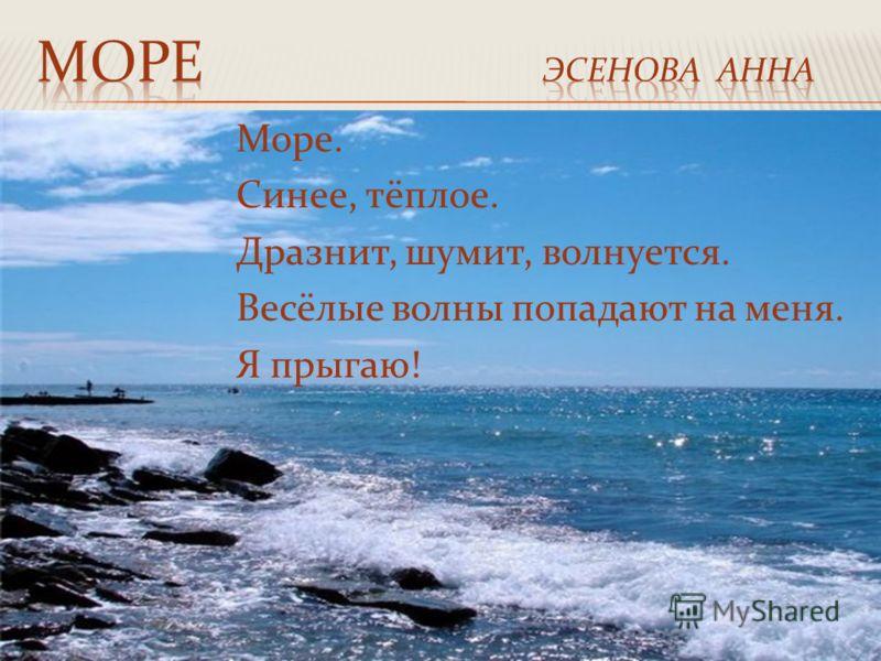 Море. Синее, тёплое. Дразнит, шумит, волнуется. Весёлые волны попадают на меня. Я прыгаю!
