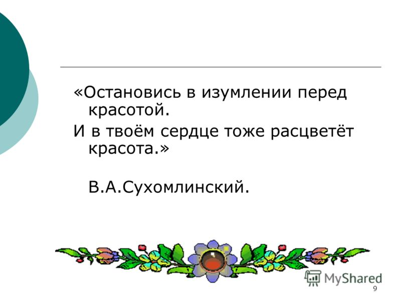 9 «Остановись в изумлении перед красотой. И в твоём сердце тоже расцветёт красота.» В.А.Сухомлинский.