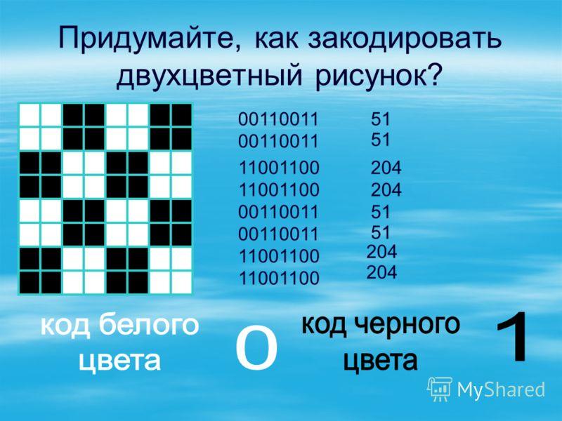 Придумайте, как закодировать двухцветный рисунок? 00110011 11001100 00110011 11001100 51 204 51 204