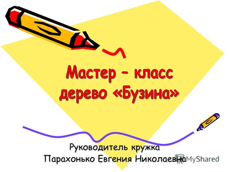 Руководитель кружка Парахонько Евгения Николаевна