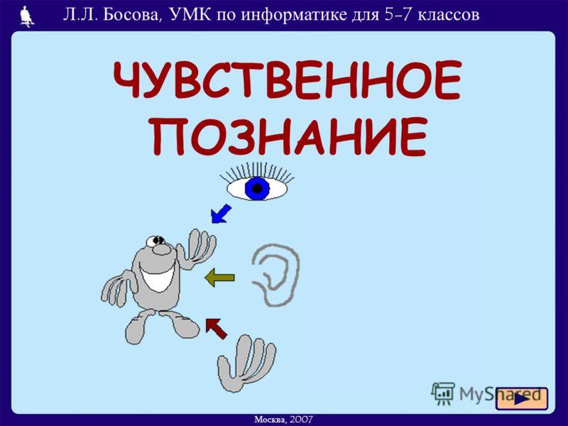 Л.Л. Босова, УМК по информатике для 5-7 классов Москва, 2007 ЧУВСТВЕННОЕ ПОЗНАНИЕ