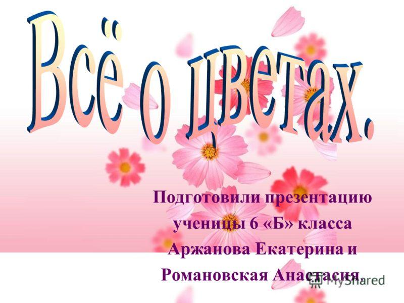 Подготовили презентацию ученицы 6 «Б» класса Аржанова Екатерина и Романовская Анастасия.