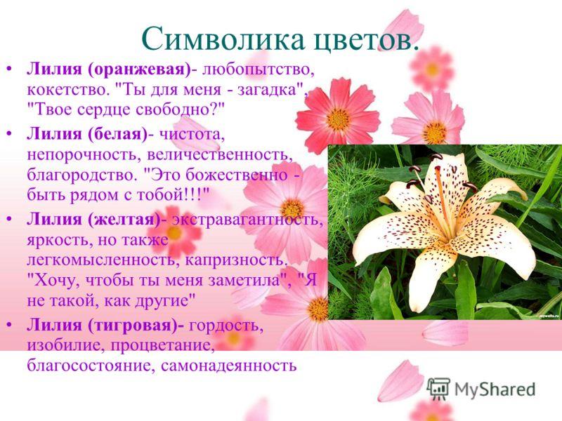 Символика цветов. Лилия (оранжевая)- любопытство, кокетство.