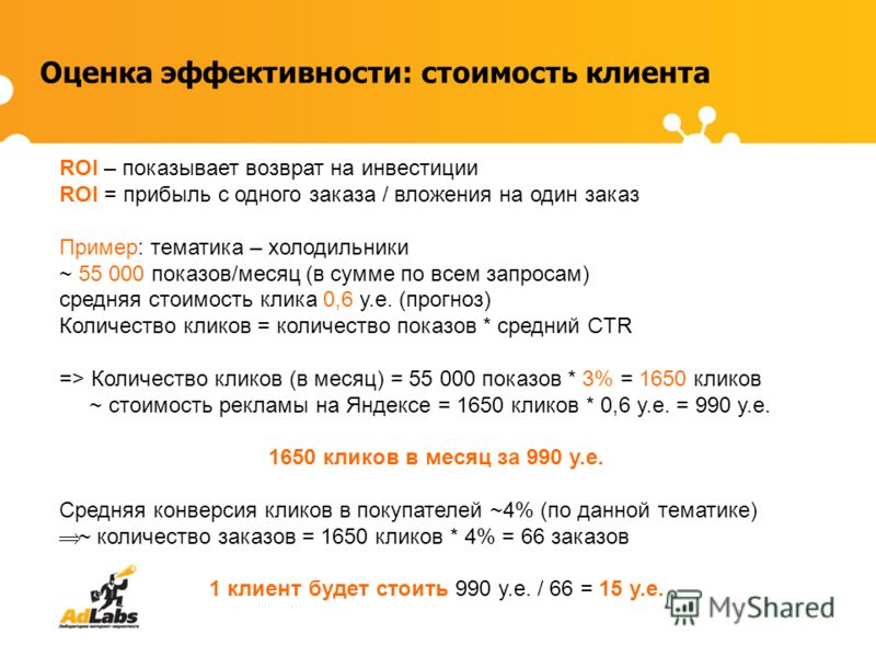 Оценка эффективности: стоимость клиента ROI – показывает возврат на инвестиции ROI = прибыль с одного заказа / вложения на один заказ Пример: тематика – холодильники ~ 55 000 показов/месяц (в сумме по всем запросам) средняя стоимость клика 0,6 у.е. (