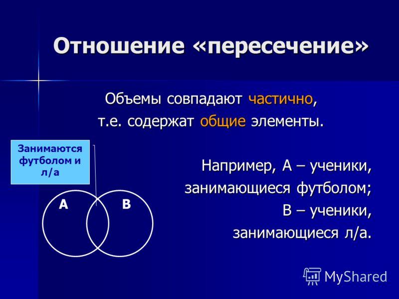 Отношение «пересечение» Объемы совпадают частично, т.е. содержат общие элементы. Например, А – ученики, занимающиеся футболом; В – ученики, занимающиеся л/а. АВ Занимаются футболом и л/а