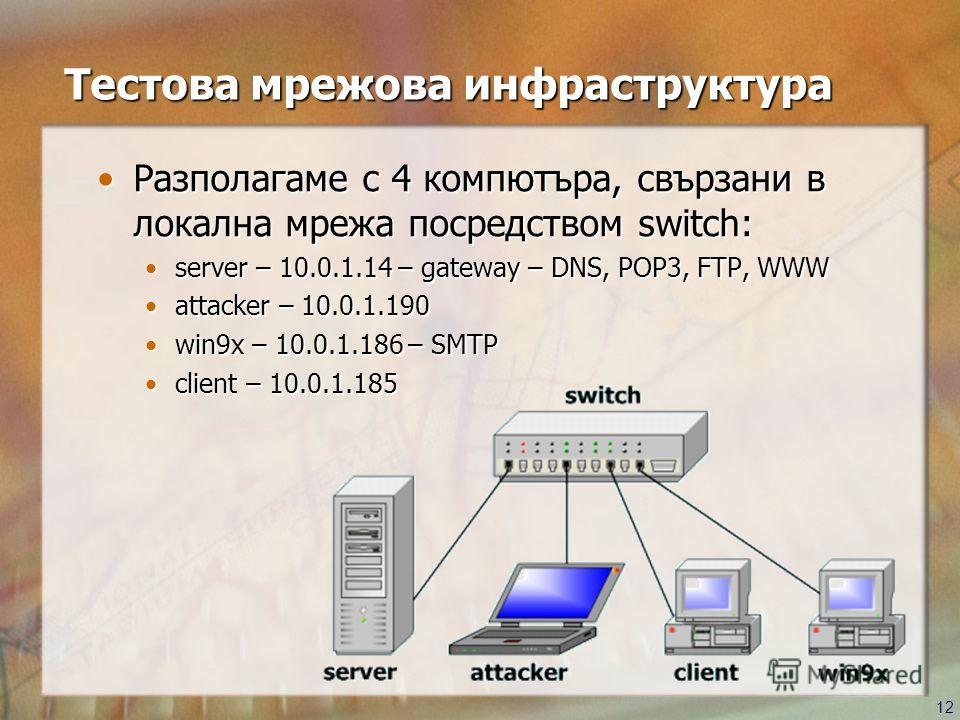 12 Tестова мрежова инфраструктура Разполагаме с 4 компютъра, свързани в локална мрежа посредством switch:Разполагаме с 4 компютъра, свързани в локална мрежа посредством switch: server – 10.0.1.14 – gateway – DNS, POP3, FTP, WWWserver – 10.0.1.14 – ga