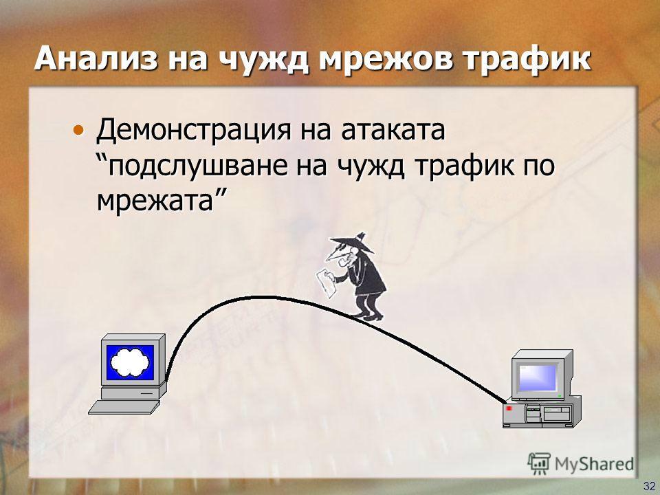 32 Демонстрация на атаката подслушване на чужд трафик по мрежатаДемонстрация на атаката подслушване на чужд трафик по мрежата Анализ на чужд мрежов трафик