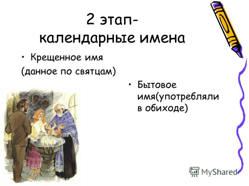 2 этап- календарные имена Бытовое имя(употребляли в обиходе) Крещенное имя (данное по святцам)