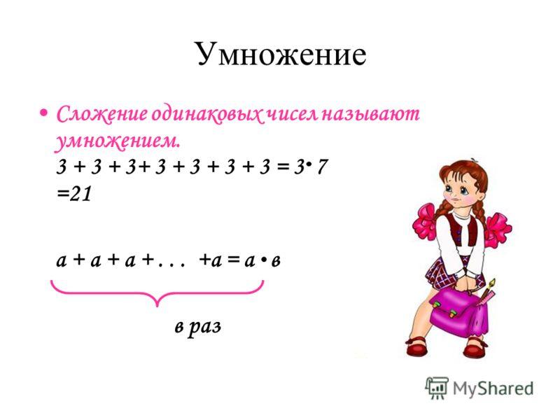 Умножение Сложение одинаковых чисел называют умножением. 3 + 3 + 3+ 3 + 3 + 3 + 3 = 3 7 =21 а + а + а +... +а = а в в раз