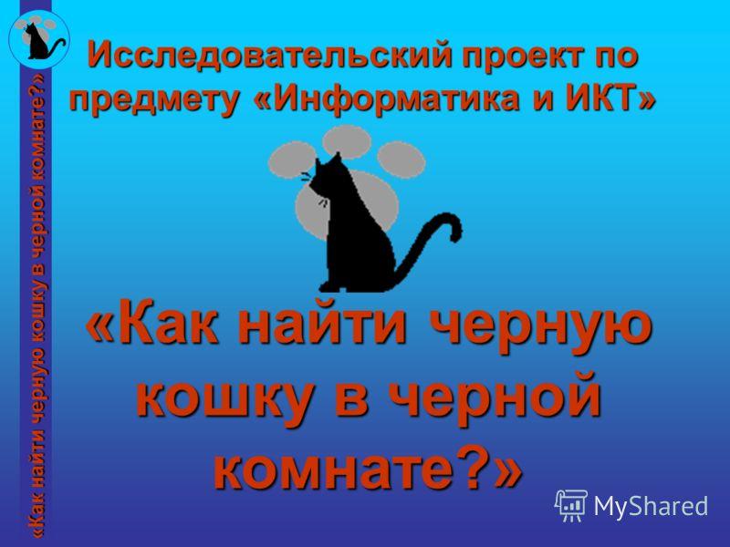 «Как найти черную кошку в черной комнате?» Исследовательский проект по предмету «Информатика и ИКТ»