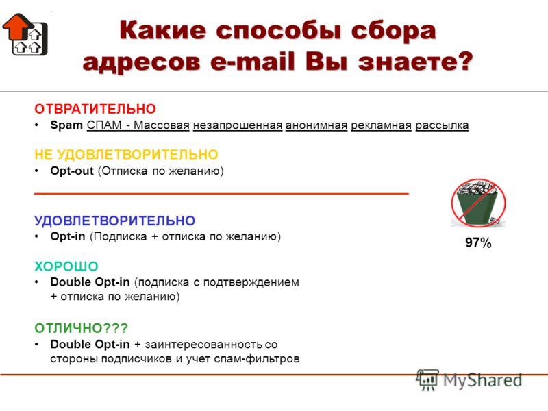 ОТВРАТИТЕЛЬНО Spam СПАМ - Массовая незапрошенная анонимная рекламная рассылка НЕ УДОВЛЕТВОРИТЕЛЬНО Opt-out (Отписка по желанию) ____________________________________________ УДОВЛЕТВОРИТЕЛЬНО Opt-in (Подписка + отписка по желанию) ХОРОШО Double Opt-in