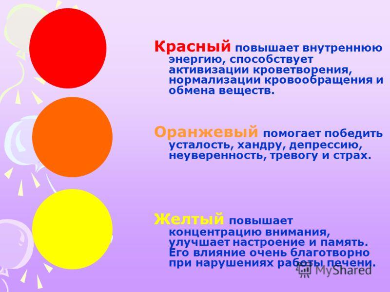 Красный повышает внутреннюю энергию, способствует активизации кроветворения, нормализации кровообращения и обмена веществ. Оранжевый помогает победить усталость, хандру, депрессию, неуверенность, тревогу и страх. Желтый повышает концентрацию внимания