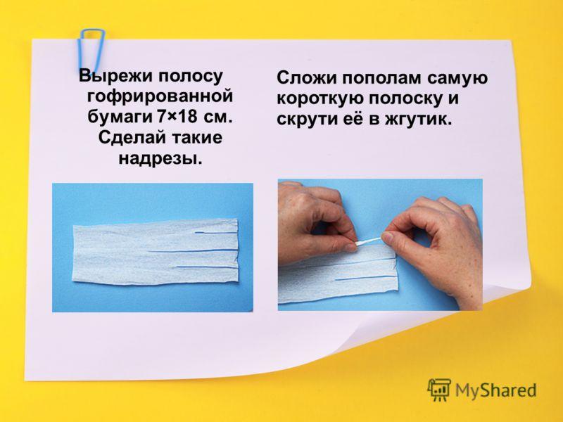 Вырежи полосу гофрированной бумаги 7×18 см. Сделай такие надрезы. Сложи пополам самую короткую полоску и скрути её в жгутик.