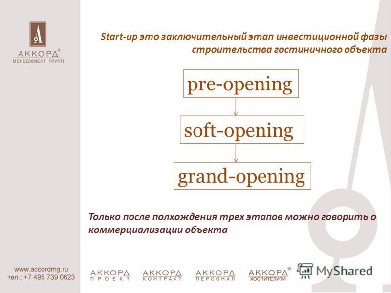 Start-up это заключительный этап инвестиционной фазы строительства гостиничного объекта Только после полхождения трех этапов можно говорить о коммерциализации объекта pre-opening soft-opening grand-opening