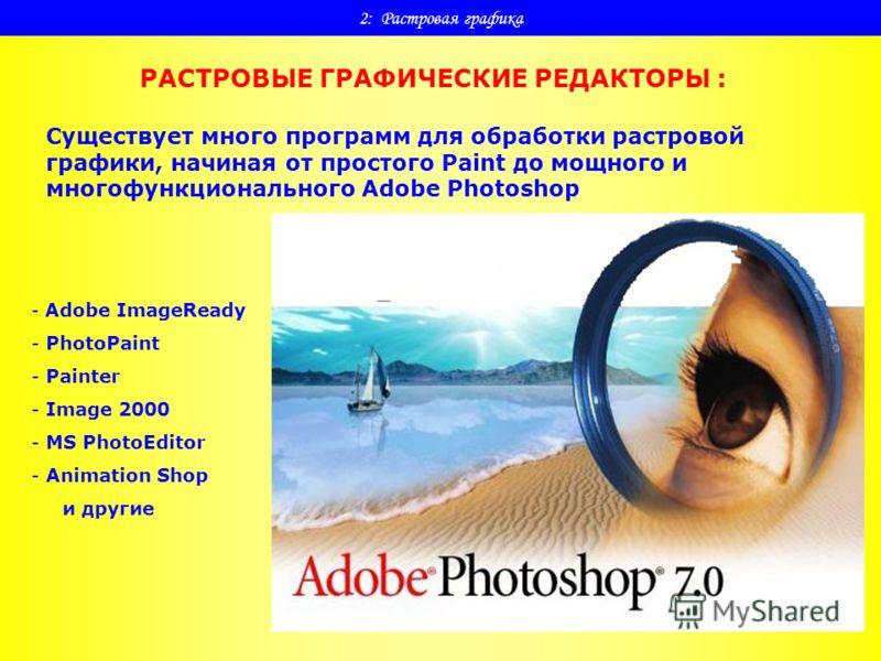2: Растровая графика РАСТРОВЫЕ ГРАФИЧЕСКИЕ РЕДАКТОРЫ : Существует много программ для обработки растровой графики, начиная от простого Paint до мощного и многофункционального Adobe Photoshop - Adobe ImageReady - PhotoPaint - Painter - Image 2000 - MS
