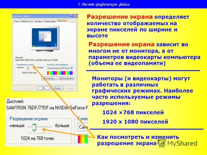 5. Расчет графического файла Разрешение экрана определяет количество отображаемых на экране пикселей по ширине и высоте Разрешение экрана зависит во многом не от монитора, а от параметров видеокарты компьютера (объема ее видеопамяти) Мониторы (и виде
