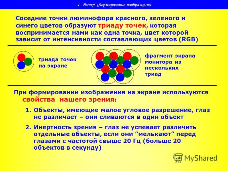 1. Растр. Формирование изображения Соседние точки люминофора красного, зеленого и синего цветов образуют триаду точек, которая воспринимается нами как одна точка, цвет которой зависит от интенсивности составляющих цветов (RGB) триада точек на экране