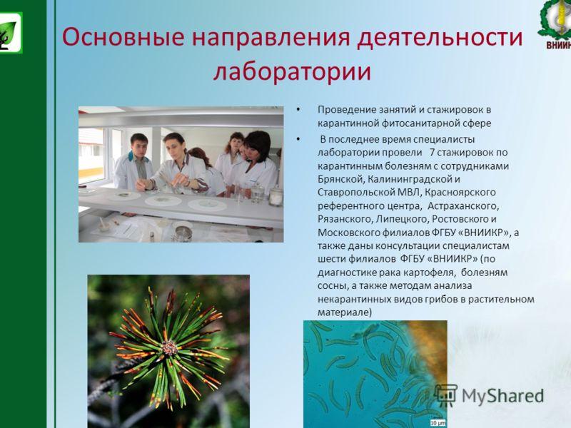 Основные направления деятельности лаборатории Проведение занятий и стажировок в карантинной фитосанитарной сфере В последнее время специалисты лаборатории провели 7 стажировок по карантинным болезням с сотрудниками Брянской, Калининградской и Ставроп