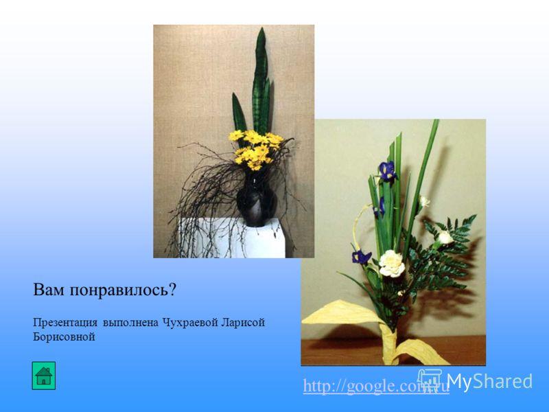 Вам понравилось? Презентация выполнена Чухраевой Ларисой Борисовной http://google.com.ru