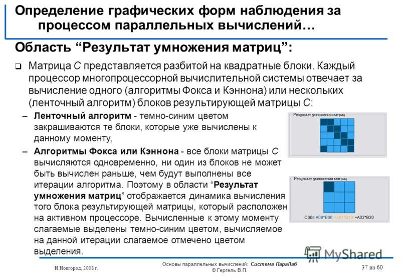 Н.Новгород, 2008 г. Основы параллельных вычислений: Система ПараЛаб © Гергель В.П. 37 из 60 Область Результат умножения матриц: Матрица C представляется разбитой на квадратные блоки. Каждый процессор многопроцессорной вычислительной системы отвечает
