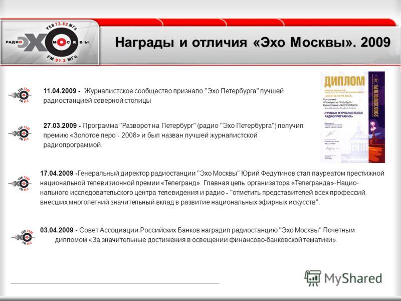 03.04.2009 - Совет Ассоциации Российских Банков наградил радиостанцию