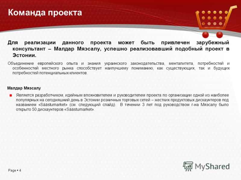 Page 4 Команда проекта Для реализации данного проекта может быть привлечен зарубежный консультант – Малдар Мяэсалу, успешно реализовавший подобный проект в Эстонии. Объединение европейского опыта и знания украинского законодательства, менталитета, по
