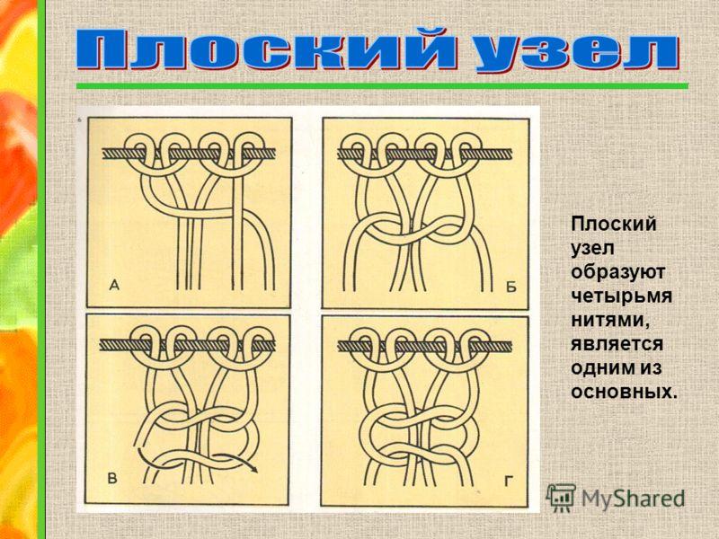 Плоский узел образуют четырьмя нитями, является одним из основных.