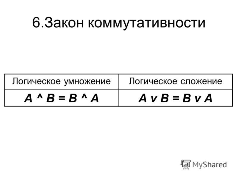 6.Закон коммутативности Логическое умножениеЛогическое сложение А ^ В = В ^ АА v В = В v А