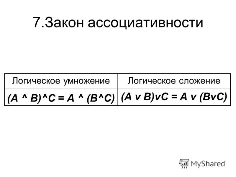 7.Закон ассоциативности Логическое умножениеЛогическое сложение (А ^ В)^С = А ^ (В^С) (А v В)vС = А v (ВvС)