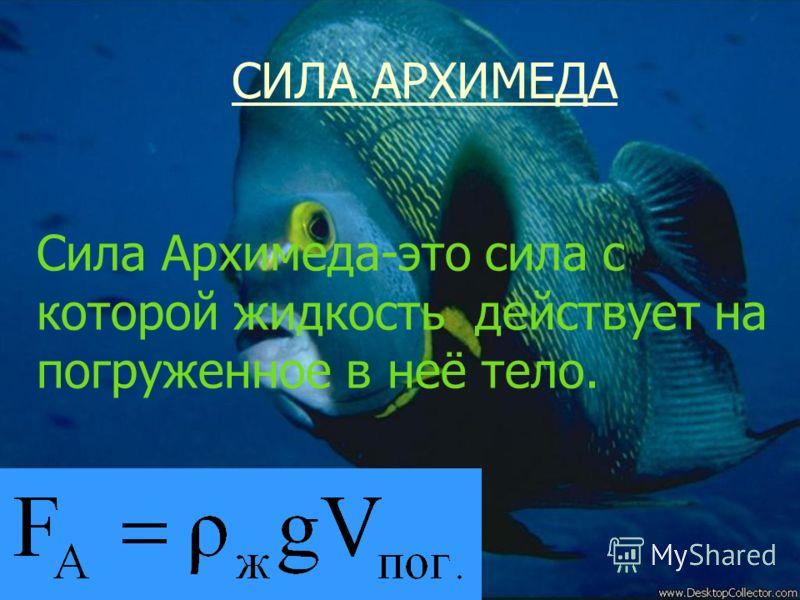 Сила Архимеда Сила Архимеда-это сила с которой жидкость действует на погруженное в неё тело. СИЛА АРХИМЕДА