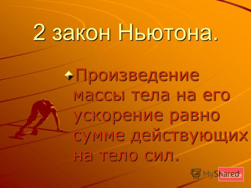 2 закон Ньютона. Произведение массы тела на его ускорение равно сумме действующих на тело сил. Законы