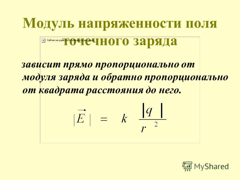 Модуль напряженности поля точечного заряда зависит прямо пропорционально от модуля заряда и обратно пропорционально от квадрата расстояния до него.