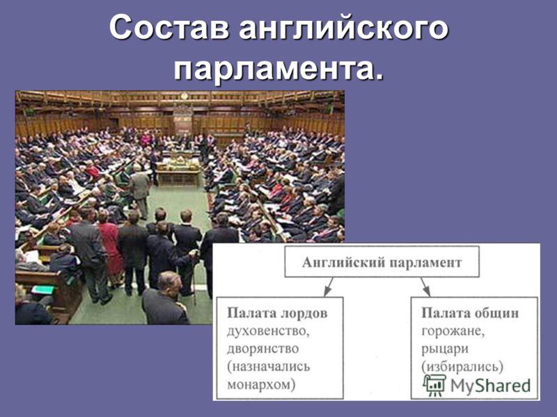 Состав английского парламента.