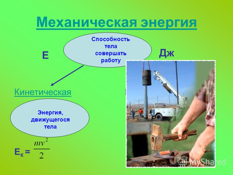 Механическая энергия Е КинетическаяКинетическая Потенциальная Е к = Е п = mgh Способность тела совершать работу Энергия, движущегося тела Энергия взаимодействия тел Дж