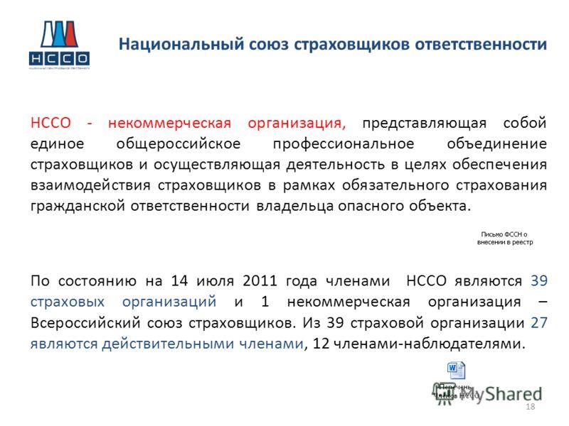 НССО - некоммерческая организация, представляющая собой единое общероссийское профессиональное объединение страховщиков и осуществляющая деятельность в целях обеспечения взаимодействия страховщиков в рамках обязательного страхования гражданской ответ